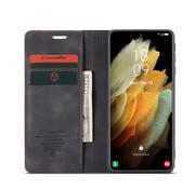 CaseMe Samsung S21 Ultra Hoesje Zwart - Retro Wallet Slim