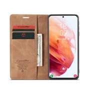 CaseMe Samsung S21 Plus Hoesje Lichtbruin - Retro Wallet Slim