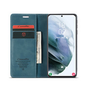 CaseMe Samsung S21 Hoesje Blauw - Retro Wallet Slim