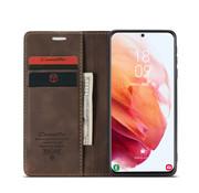 CaseMe Samsung S21 Hoesje Bruin - Retro Wallet Slim