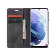 CaseMe Samsung S21 Hoesje Zwart - Retro Wallet Slim