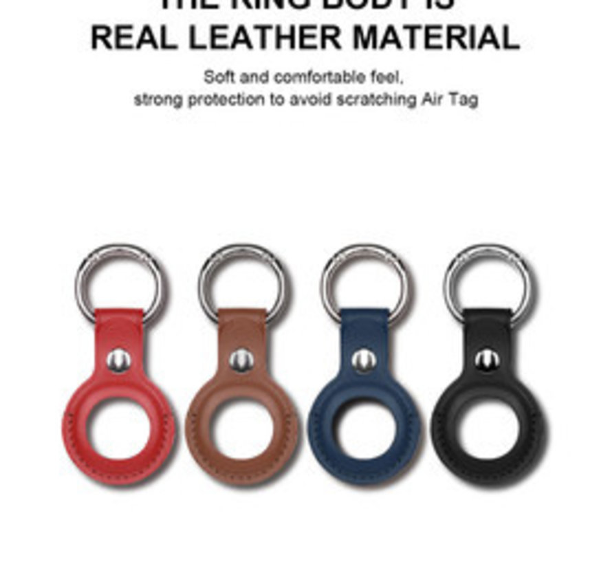 Apple AirTag Leder Sleutelhanger Ring Bruin - Airtag Beschermhoesje - Apple Airtag hoes - Siliconen Airtag hoesje