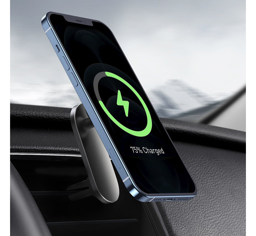 Magnetic Car Holder + Wireless Charging   Anti-drop   15W Fast charging