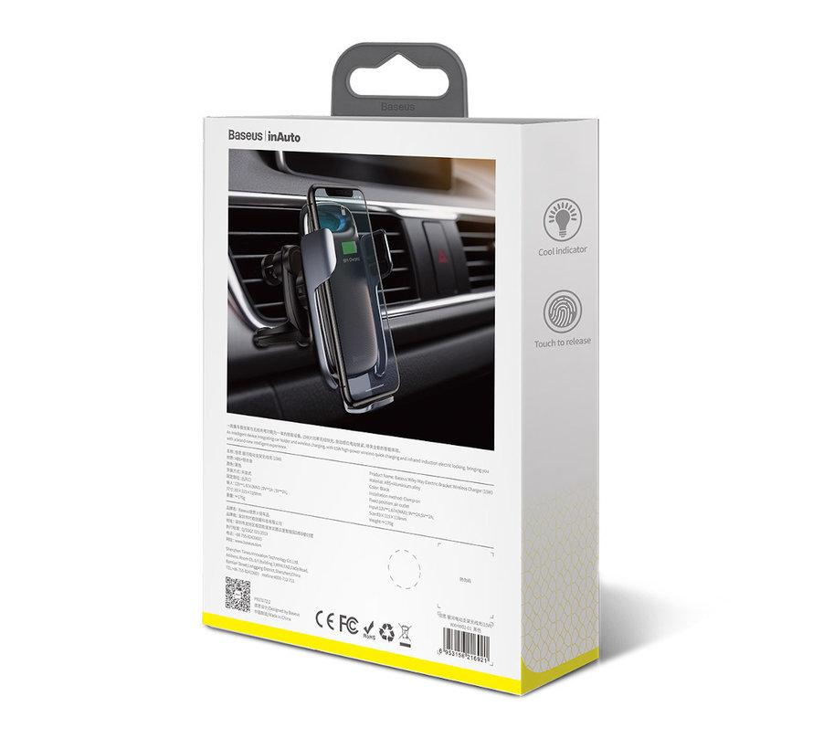 Baseus - Autohouder Draadloze Oplader - Universele Autohouder Ventilatierooster - Zwarte GSM Mobiel Houder