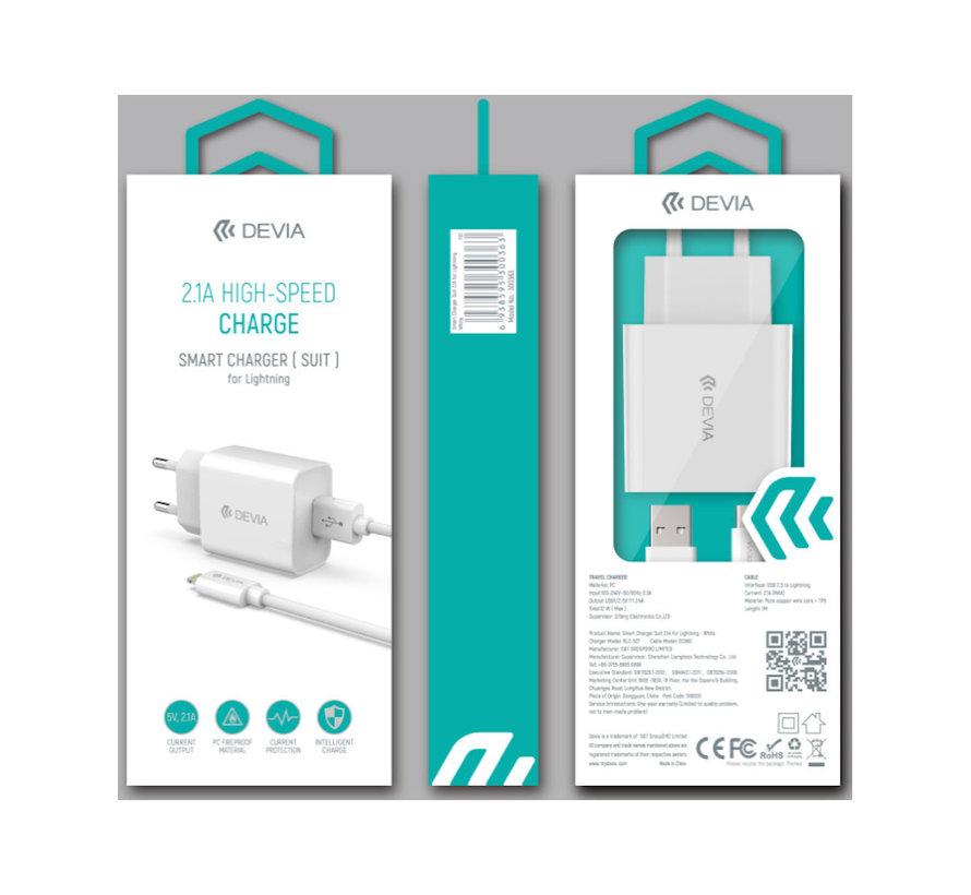 Oplader set   Adapter + USB Lightning 1m Set - Oplaadkabel voor Apple iPhone XR / XS Max / XS / 8 (Plus) / 7 / 6 + voor Apple iPad 9