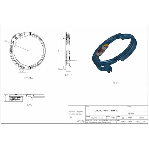 Rope guide DH300-400 11MM Left