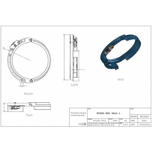 Rope guide DH500-600 14MM Left