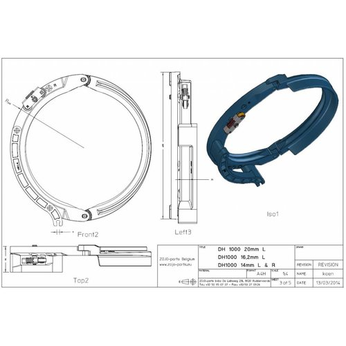 Rope guide DH1000 16MM Left