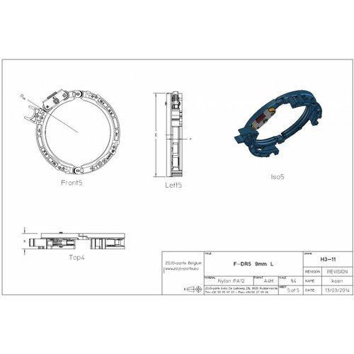 Rope guide F-DR3 7MM Left