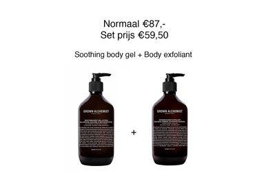Grown Alchemist Body set. Soothing body gel + Intensive body exfoliant