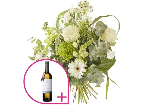 Boeket sprankelend en witte wijn
