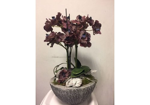 Zijden bloemstuk orchidee paars