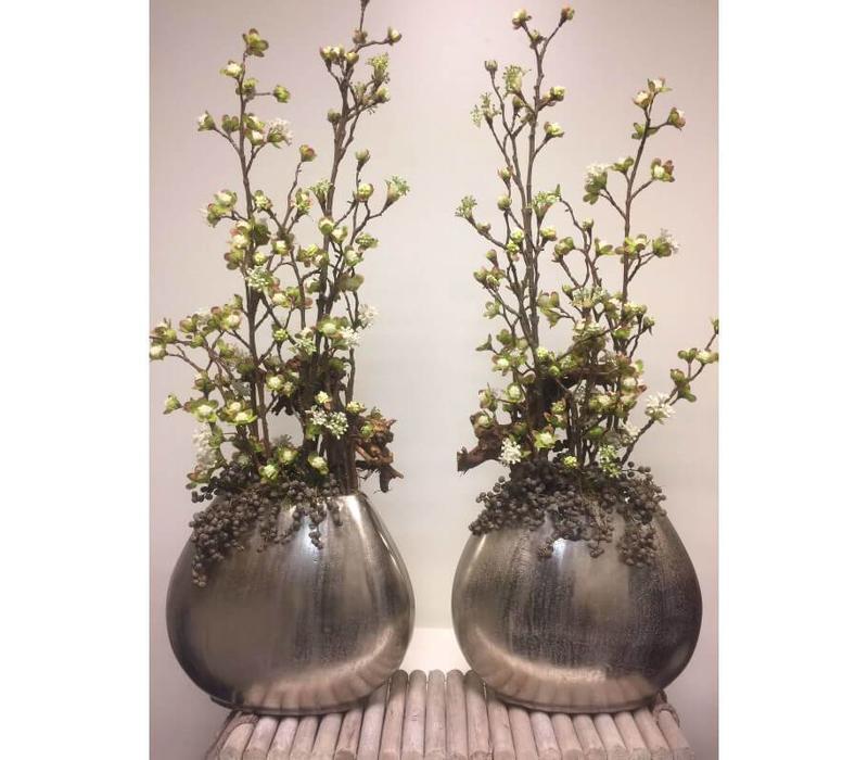 Zijden plantenarrangement zilver