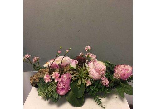 Zijden bloemstuk roze