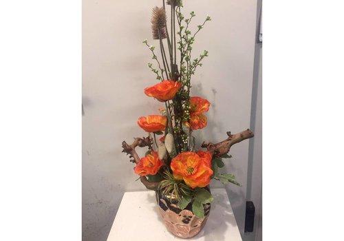 Zijden bloemstuk klaproos