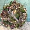 Kerstkrans paars met verlichting