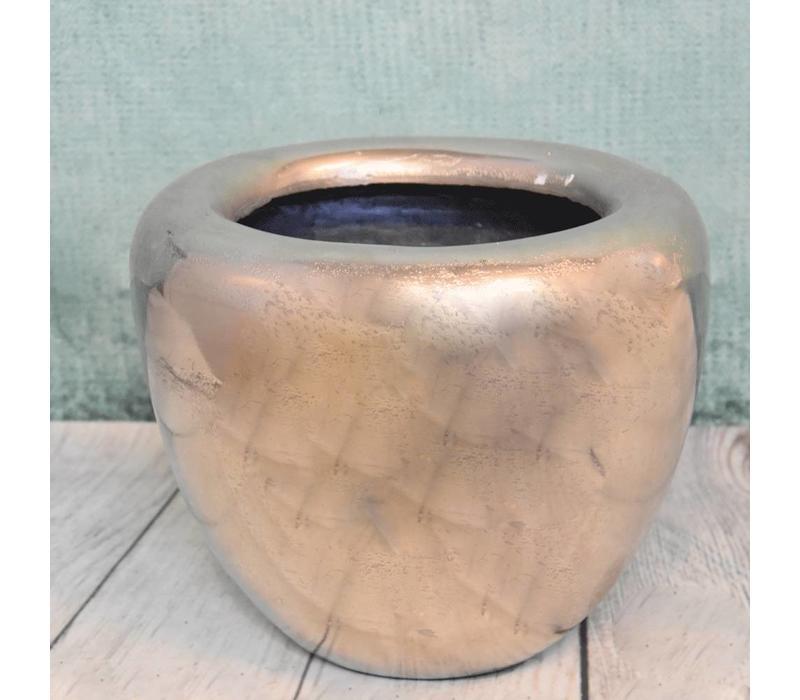 Metalen vaas ovaal klein