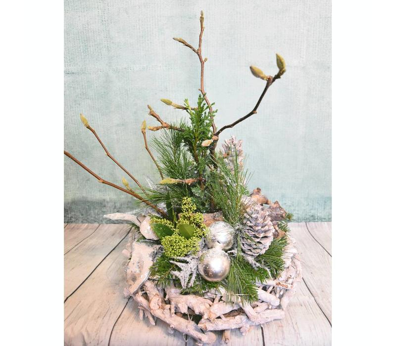 Kerststuk hout