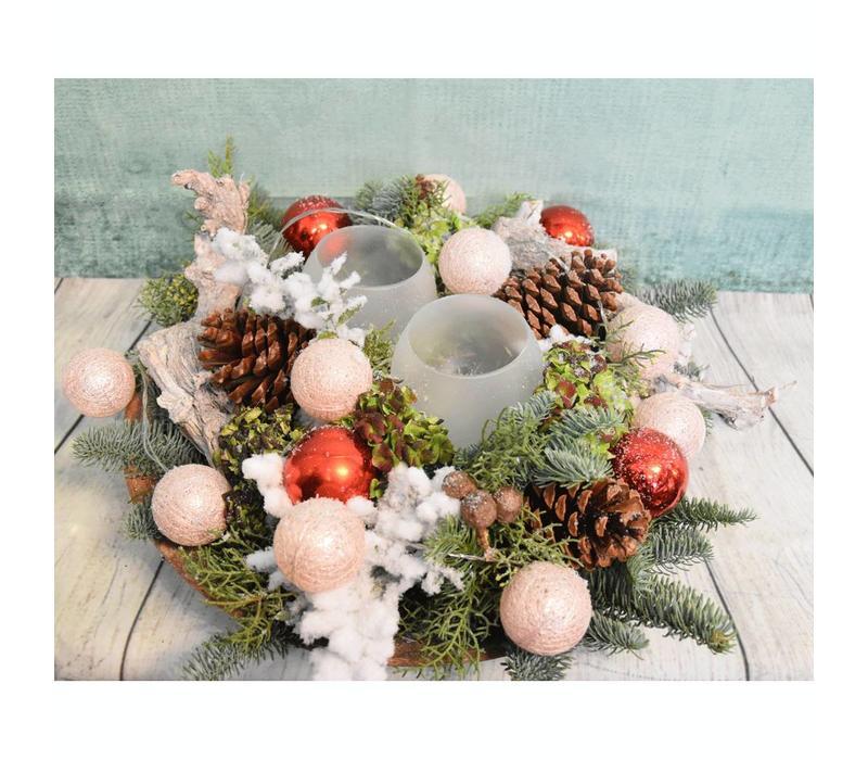 Kerststuk schaal roze