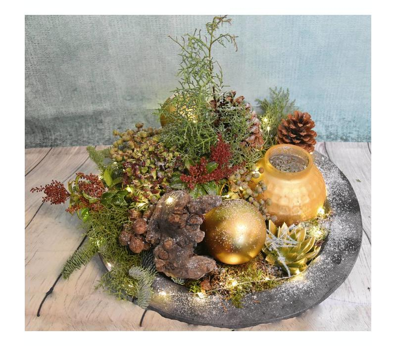 Winterarrangement goud