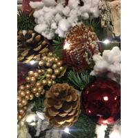 Kunst kerststuk rood & goud