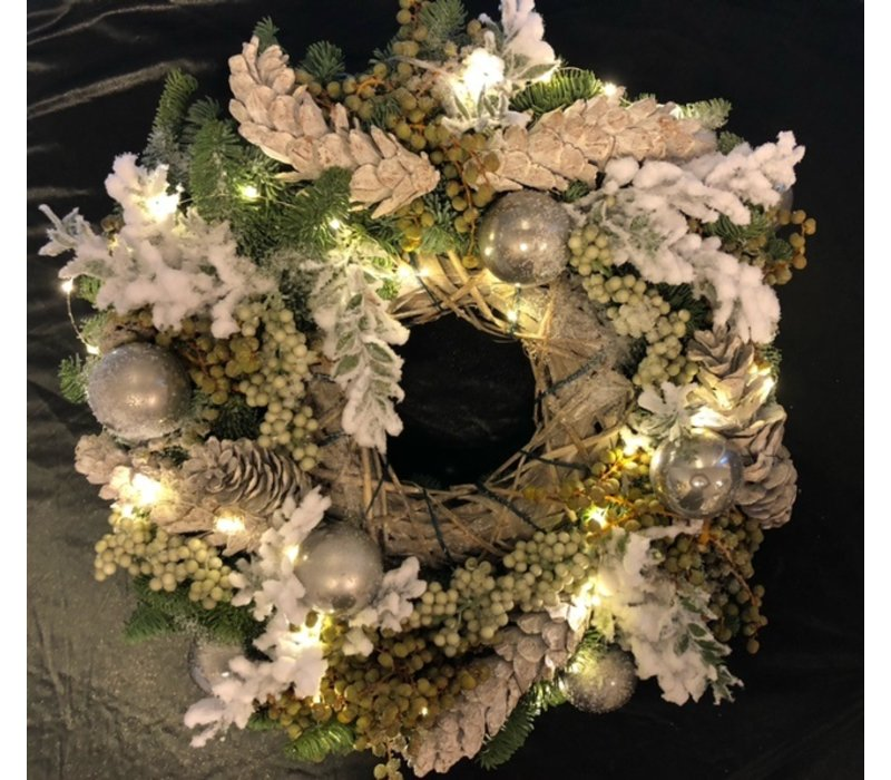 Kerstkrans Zilver met verlichting