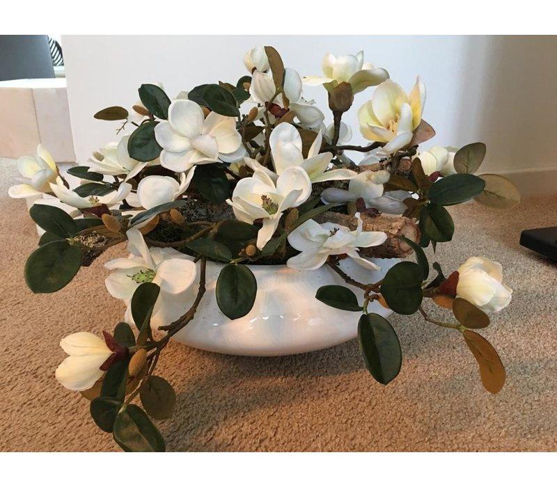 Hoogglans, witte schaal met Magnolia