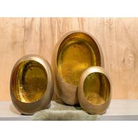 Gouden, trendy kandelaar in ei-vorm