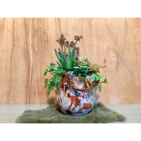 Fidrio vaas opgevuld met kunstplantjes breed