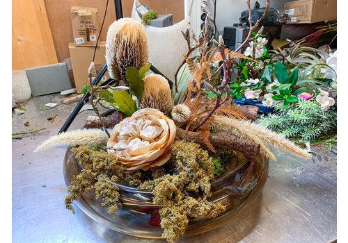 Ron Glasschaal gevuld met zijdebloemen