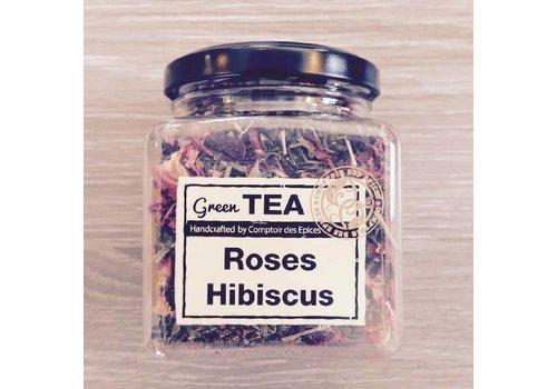 Le Comptoir des épices Groene thee met rozenblaadjes en hibiscus