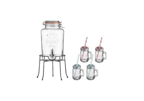 Kilner Drankdispenser set met glazen en houder