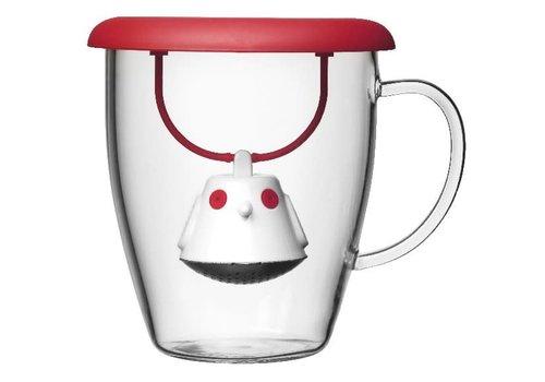 QDO Infuseur à thé & tasse Birdie Swing Rouge