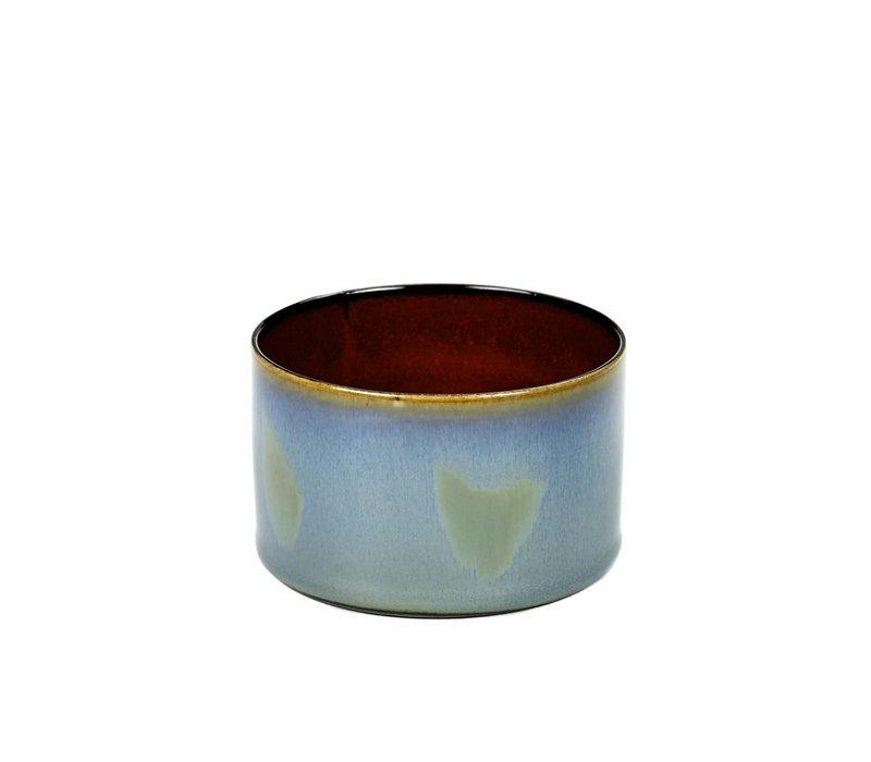 beker cylinder laag d7,5 h5 smokey blue / rust - Anita Le Grelle