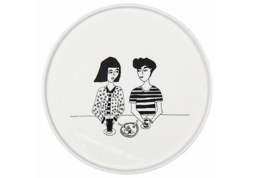 helen b plat en porcelaine couple cake