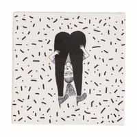 Onderzetter tegel in keramiek girl upside down
