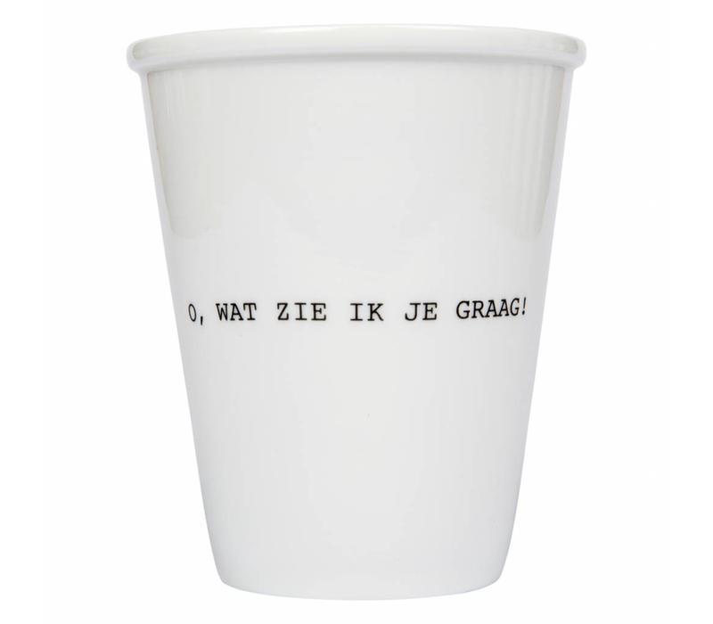 Tasse en porcelaine 'o, wat zie ik je graag'