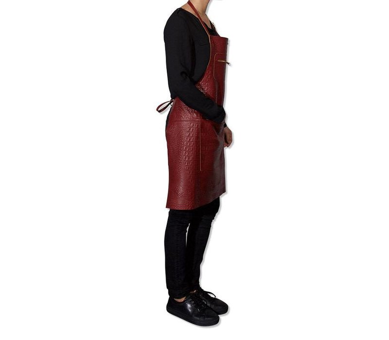 Tablier avec fermeture éclair style Croco New Ruby Red