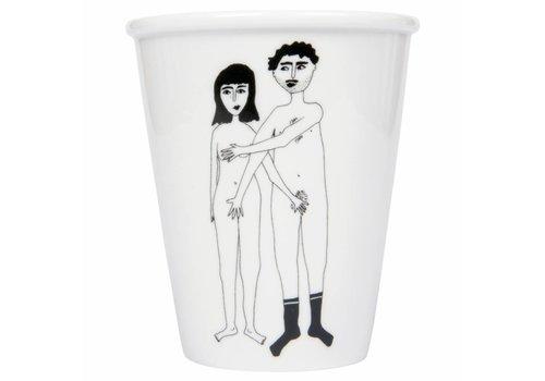 helen b Beker in porselein 'Naked couple'