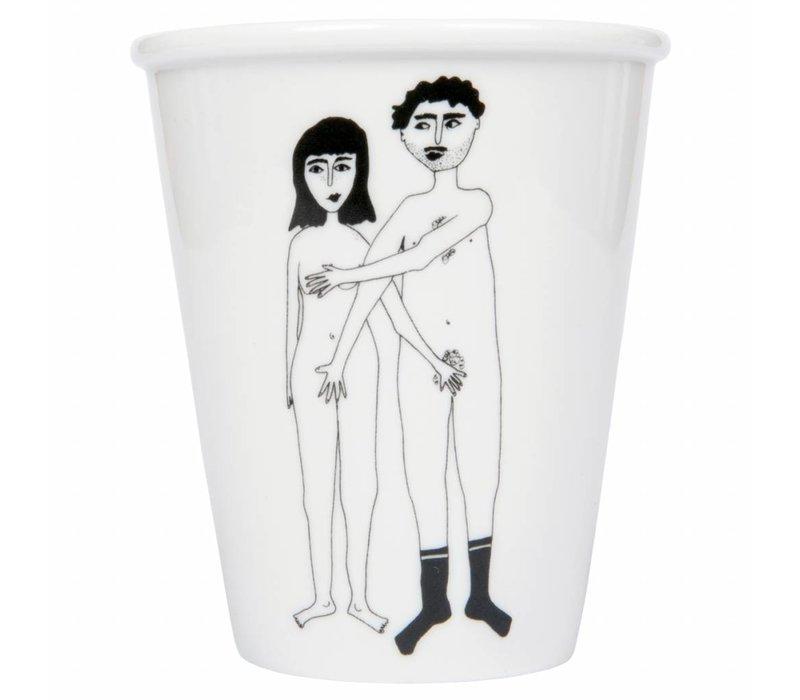 "Beker in porselein ""Naked couple"""