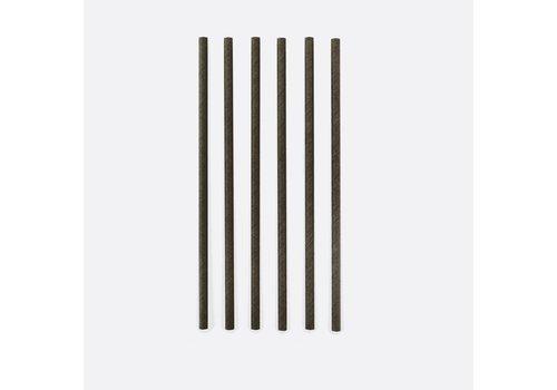 Point Virgule Pailles en papier noir - 48 pièces