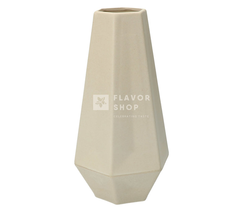 Geometrische vaas uit bamboevezel - Gebroken Wit