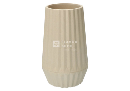 Point Virgule Vase en fibre de bambou côtelé - Blanc cassé