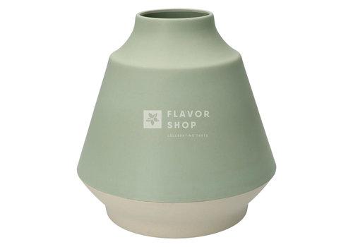 Point Virgule Vase en fibre de bambou - Vert sauge et blanc cassé