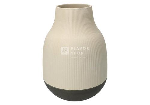 Point Virgule Vase en fibre de bambou - Blanc cassé et gris foncé