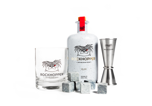 Coffret cadeau Rockhopper Rum - verre, jigger et pierres