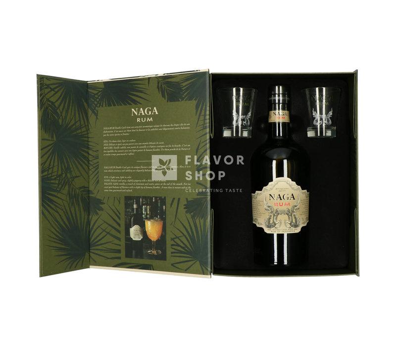Coffret cadeau Naga rhum + 2 verres