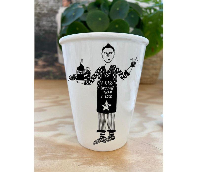 """Tasse en porcelaine """"IkissbetterthanIcook"""" -éditionlimitée"""
