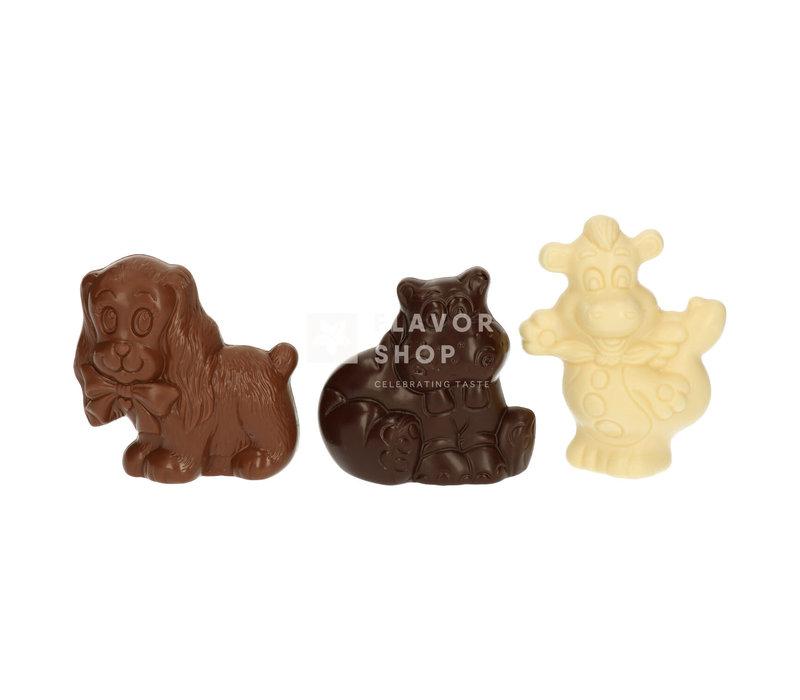 Hondje, Draakje, Nijlpaard (melk, pure, witte chocolade) 180 g - Sint