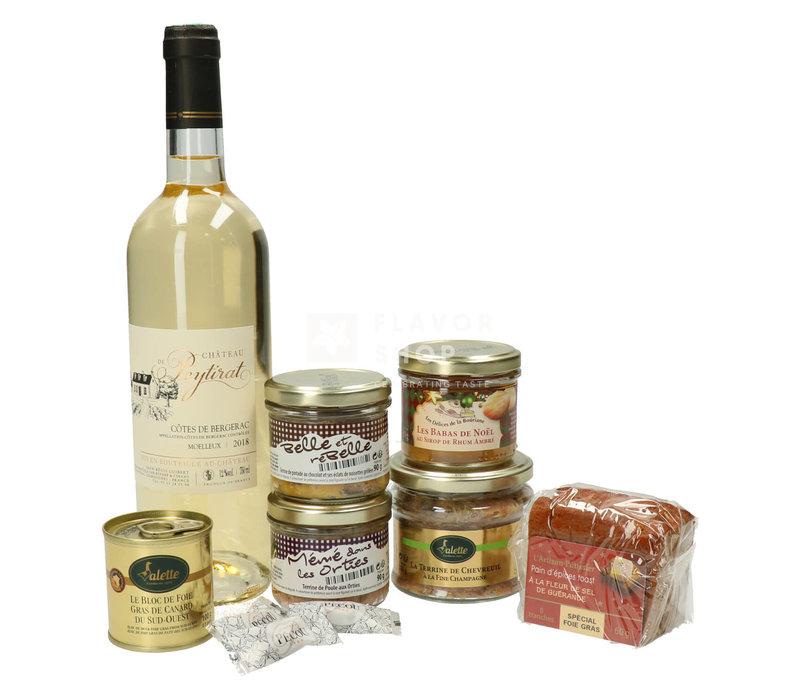 Geschenkmand Le Gourmand (wijn, terrines, foie gras & peperkoek)